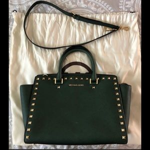 MIchael Kors, hunter green purse with gold studs.